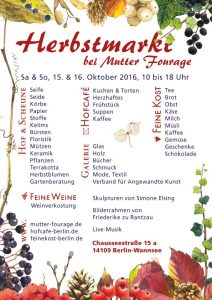 Herbstmarkt bei Mutter Fourage 2016 Plakat